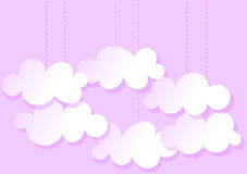 Hanging Clouds pink greeting card. Clouds hanging from the sky. Space to write message inside the clouds Royalty Free Stock Photography