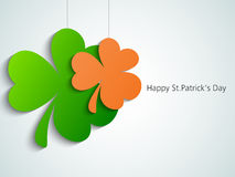 Hanging clover leaves for St. Patrick's Day celebration. Royalty Free Stock Photo