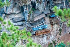 The hanging coffins of Sagada. Close-up picture of a mountain-wall with some hanging coffins, Sagada, Luzon, Philippines Stock Photos