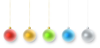 Hanging color Christmas decorations set. Isolated on white background. Colorful balls collection with shadow vector template vector illustration