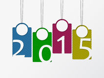 Hanging color stirped labels showing 2015. Hanging color stirped labels showing year 2015 Stock Photography