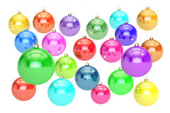 Hanging Colored Christmas balls. New Year and Merry Xmas concept. 3D rendering on white background stock illustration