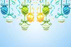 Hanging colored easter eggs on the blue background. stock illustration