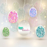 Hanging colored eggs Royalty Free Stock Image