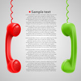 Hanging colored handsets Stock Photos