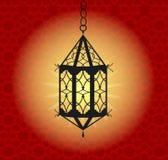 Hanging colorful Arabic lantern for holy month of Muslim community. Shiny greeting Islamic lamp for Ramadan. Beautiful lantern Stock Photo