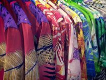 Hanging Colorful Boutique Shirts Royalty Free Stock Images