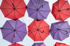 Hanging colorful decorative umbrellas Stock Photos
