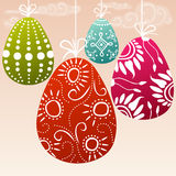 Hanging colorful easter eggs Royalty Free Stock Images