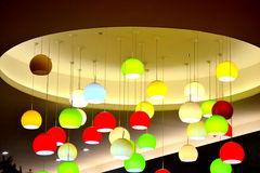 Hanging colorful lamps Stock Images