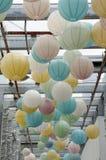 Hanging colorful lanterns Royalty Free Stock Image