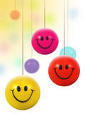 hanging colorful smiley balls royalty free stock image