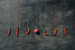 Hanging on colorful strings many red hot chili peppers and apple Royalty Free Stock Photo