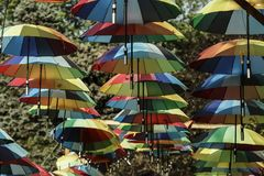 Hanging Colorful Umbrellas in Rows Royalty Free Stock Image