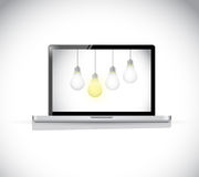 Hanging computer light bulbs illustration Stock Photo