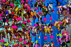 The colours of crafts. The hanging crafts made by villagers for decoration royalty free stock image