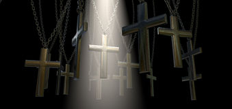 Hanging Crucifix And Spotlight Salvation Stock Photo