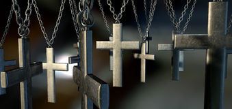 Hanging Crucifixes Close Royalty Free Stock Photo