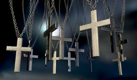 Hanging Crucifixes Far Royalty Free Stock Image
