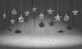 Hanging crystal balls and stars ornaments on curved wooden background. For new year or christmas theme. 3D rendering. Stock Image