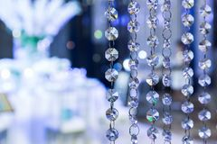 Hanging crystal daimond shape on the ceiling royalty free stock photos