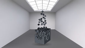 Hanging the cube from a multitude of small polygons in the large empty room. Exhibition space with abstract cubic shapes Stock Photos