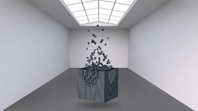 Hanging the cube from a multitude of small polygons in the large empty room. Exhibition space with abstract cubic shapes Stock Photography