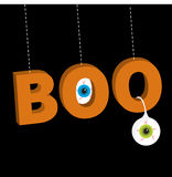 Hanging 3D word BOO text with blue green eyeballs.. Dash line thread. Happy Halloween. Greeting card. Flat design. Black background. Vector illustration Royalty Free Stock Images