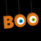 Hanging 3D word BOO text with eyeballs.. Dash line thread. Happy Halloween. Greeting card. Flat design. Black background. Vector illustration Royalty Free Stock Photos