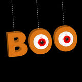 Hanging 3D word BOO text with red eyeballs. Dash line thread. Happy Halloween. Greeting card. Flat design. Black background Royalty Free Stock Images