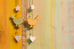 Hanging Decor Wood on String Bird Butterfly Stock Image