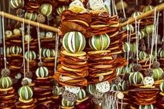Hanging decoration of dried lime, lemon, cinnamon stock photography