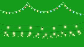 hanging decoration lights with green screen background motion graphics stock illustration