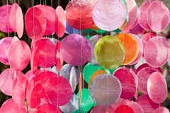 Hanging decorations. Colorful hanging decorations in a forest Stock Images