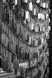Hanging Dog Tags. Metal Dog Tag Sculpture in Boston royalty free stock image