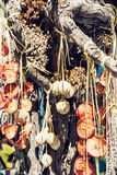 Hanging dried fruit and vegetable, food theme Stock Photo