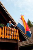 Hanging the Dutch flag Stock Images