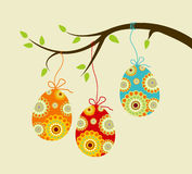 Hanging easter eggs Stock Images