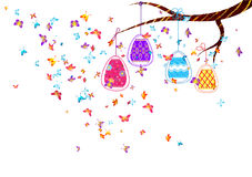 Hanging easter eggs. With butterflies Royalty Free Stock Images