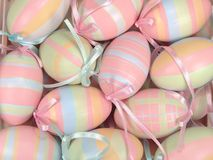 Hanging Easter Eggs. High resolution background of colorful hanging Easter eggs stock photos