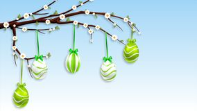 Hanging Easter eggs on a flowering branch. Art video illustration stock video footage