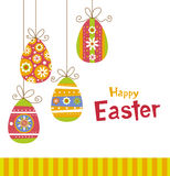 Hanging easter eggs. Greeting card with Hanging easter eggs on white background Stock Photo