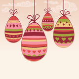 Hanging easter eggs. Easter illustration with hanging colorful painted eggs Royalty Free Stock Images