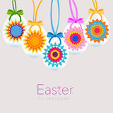 Hanging Easter eggs with kaleidoscope symbol greeting card Royalty Free Stock Photo