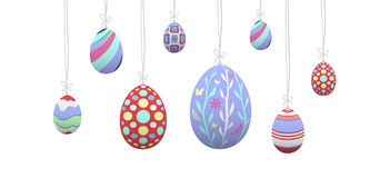 Hanging easter eggs vector Stock Images