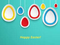 Hanging Easter eggs. Royalty Free Stock Photo