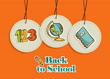 Hanging education sign icons labels set Royalty Free Stock Image