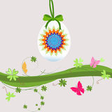 Hanging eggs floral easter background Stock Photography