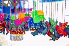 Hanging elephants of craft Stock Image