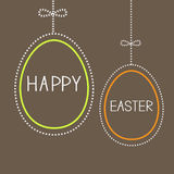 Hanging empty easter eggs with dash line and bow.. Hanging empty  easter eggs with dash line and bow. Brown background. Vector illustration Stock Image